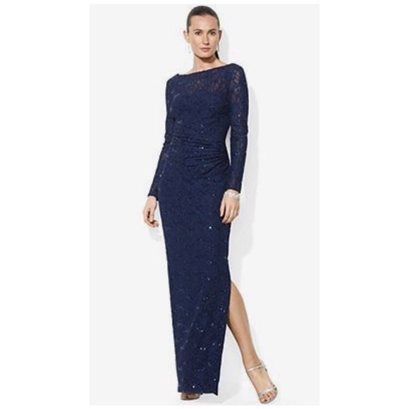 fbd935ac7f3ba6 Ralph Lauren Dresses | Navy Long Sleeve Sequined Gown | Poshmark
